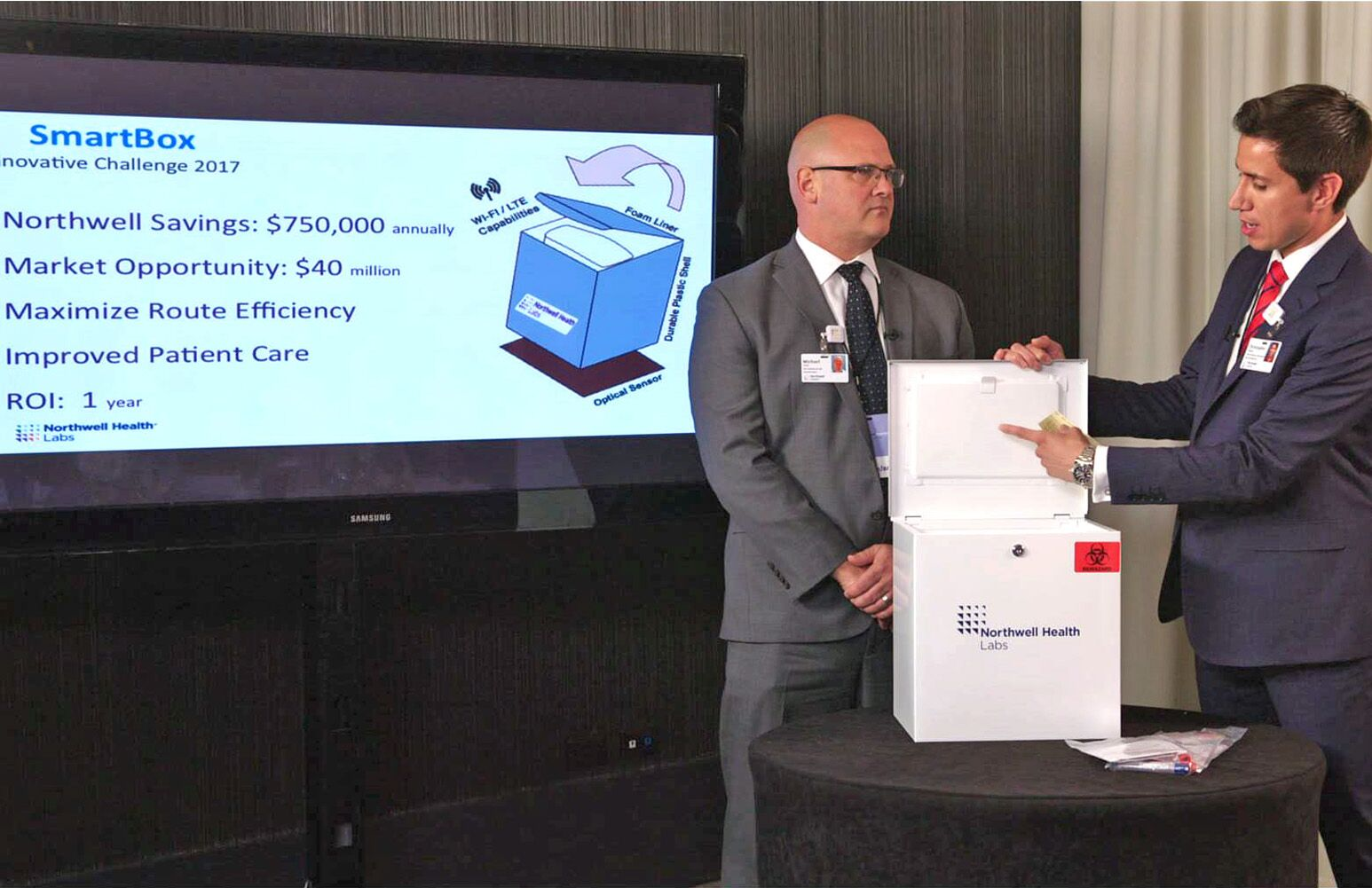 Chris Zavala and Michael Eller present the Smartbox during the Innovation Challenge.