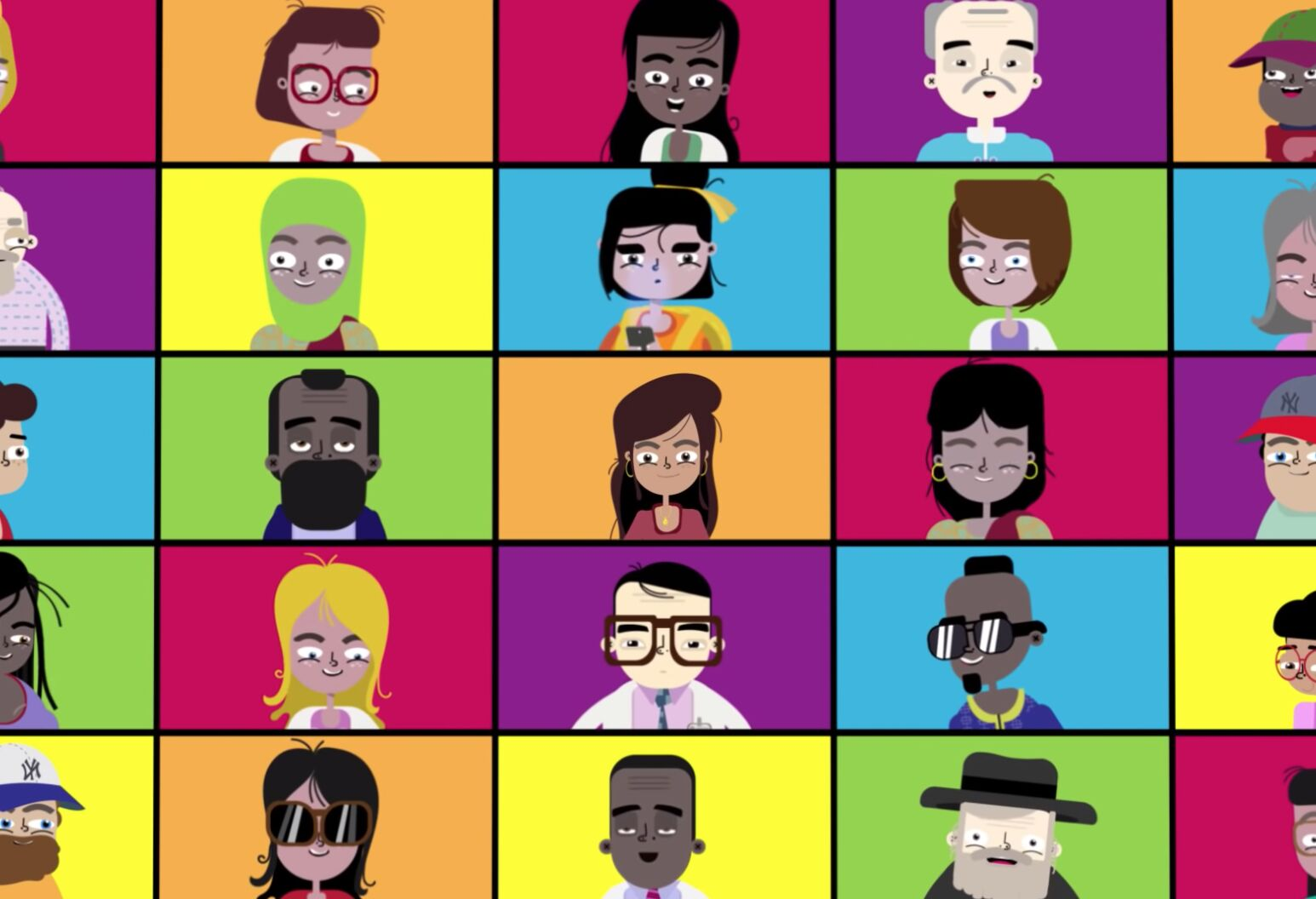 A large number of different cartoon people arranged in a grid