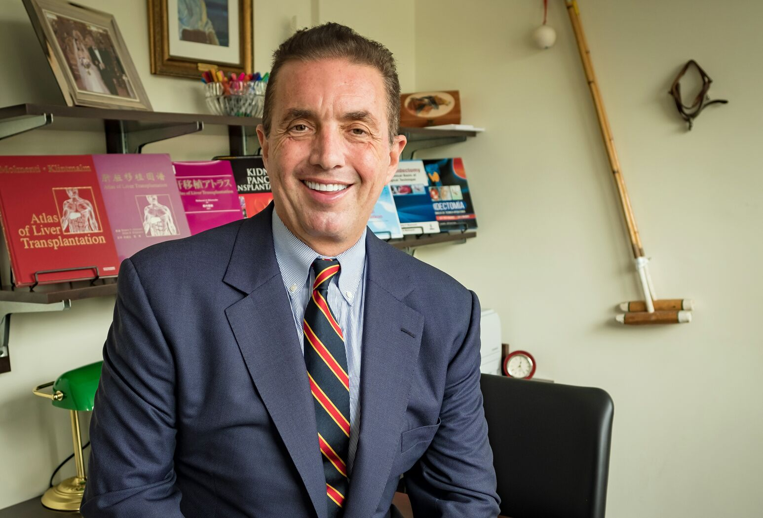 Ernesto Molmenti, MD, sits in his office after discussing his clinical/surgical introducer, which he believes has the potential to change laparoscopic surgery, as well as robotic and interventional radiology techniques