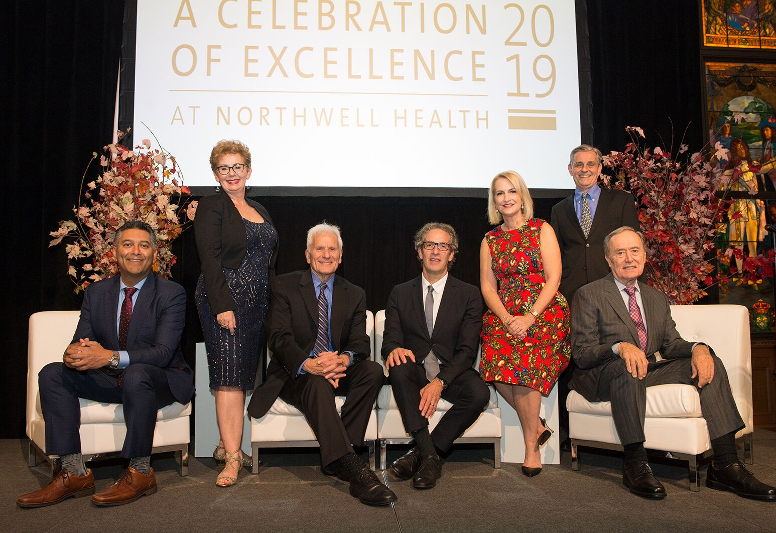 From left: Northwell Health's newly endowed professors and chairs: Varinder P. Singh, MD; Karina W. Davidson, PhD, MASc; Jeffrey M. Lipton, MD, PhD; Louis Potters, MD; Stacey E. Rosen, MD; Kevin J. Tracey, MD; and Nicholas Chiorazzi, MD.