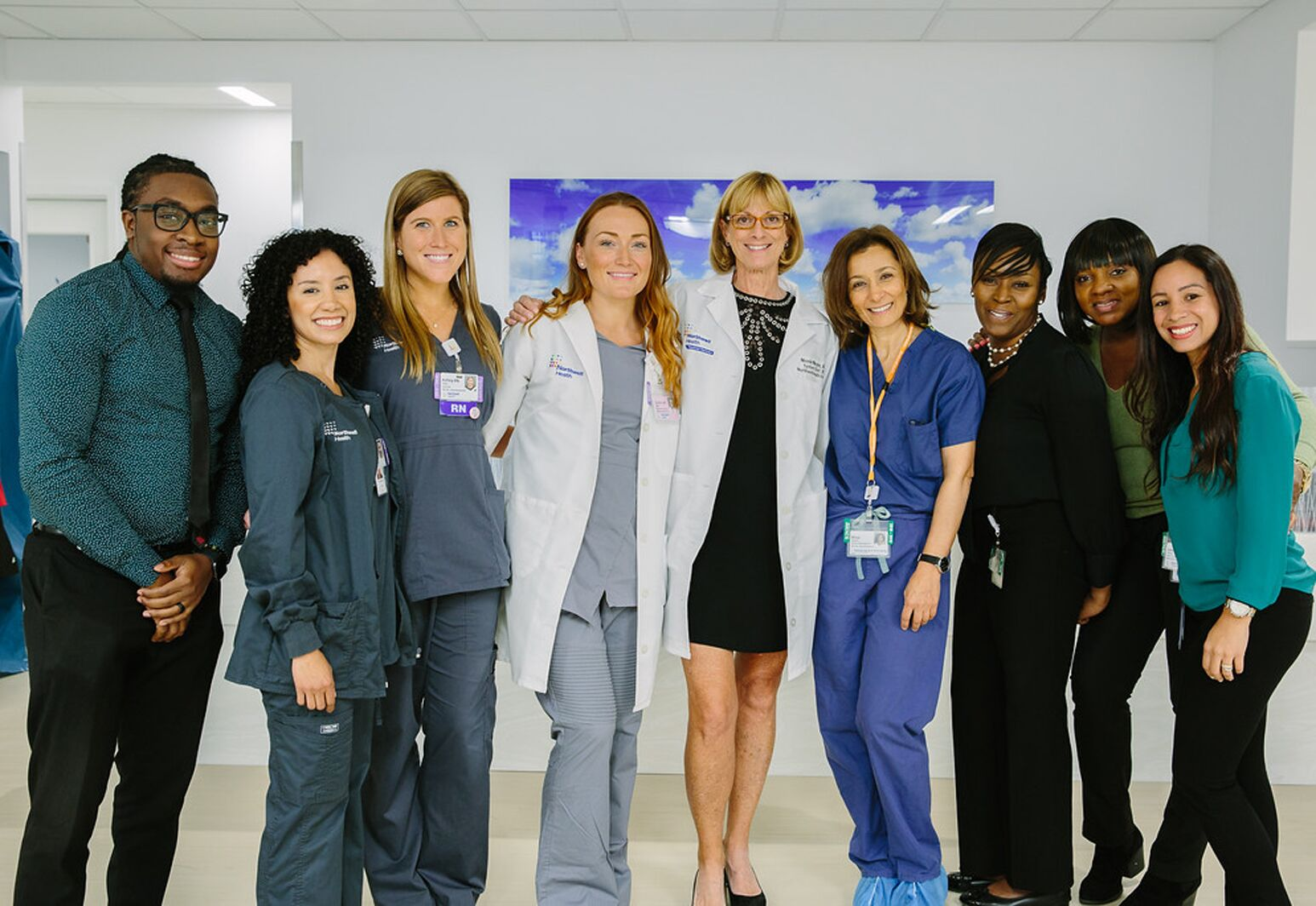 Nicole Noyes, MD, (center) with her staff at Northwell's new $25 million Reproductive and Endocrinology and Infertility Center in Manhattan.
